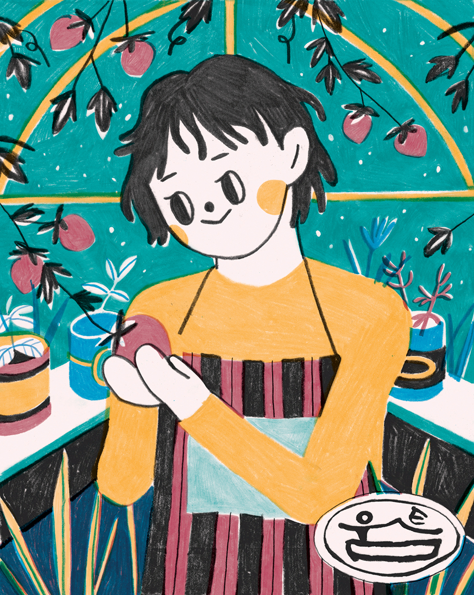 Illustration for 'Woomteum', a home-made food market based in Korea,  making and sharing healthy, honest food.