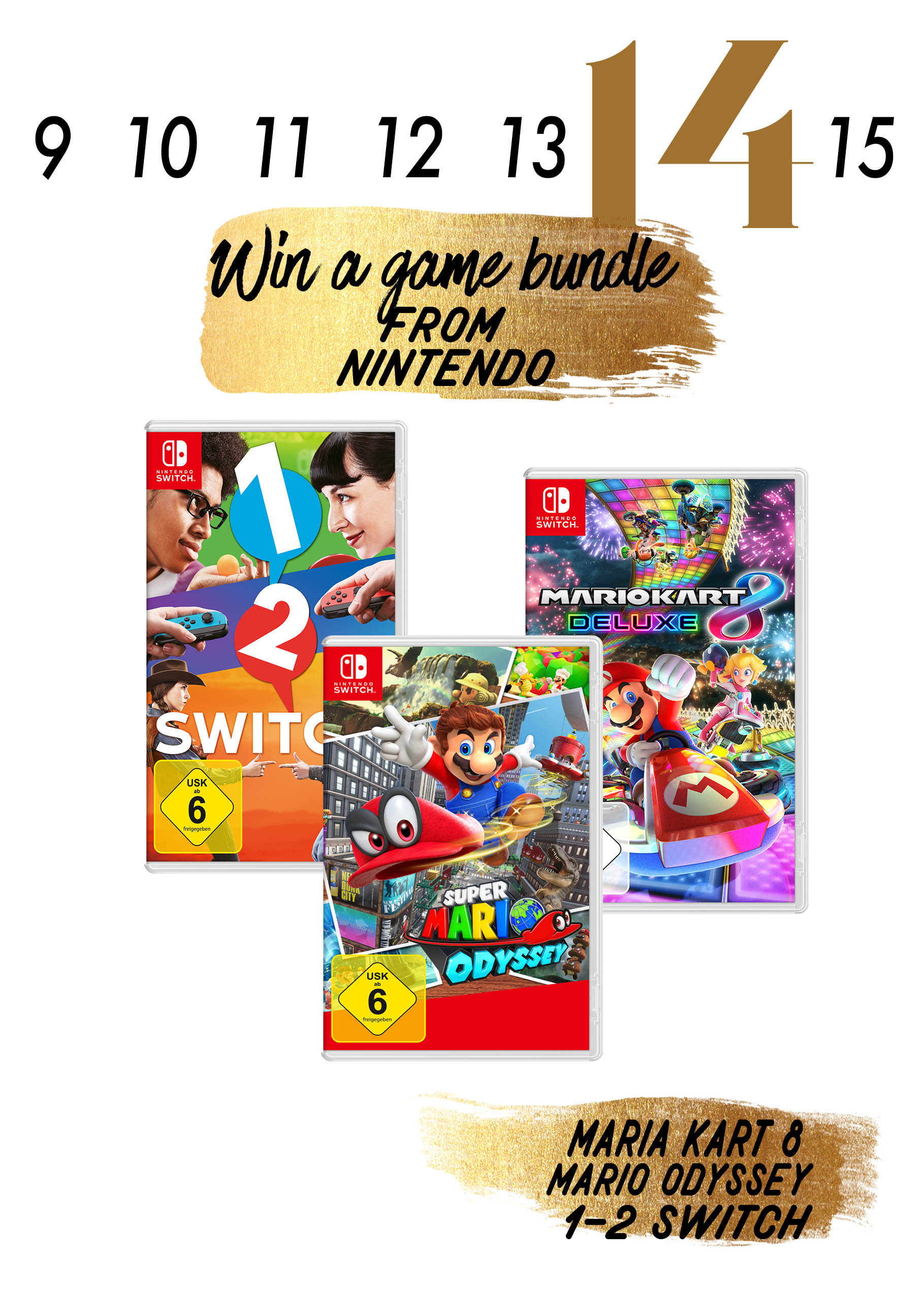 Im Türchen 14 gibt es ein tolles Gaming Paket für die Nintendo Switch zu gewinnen.
