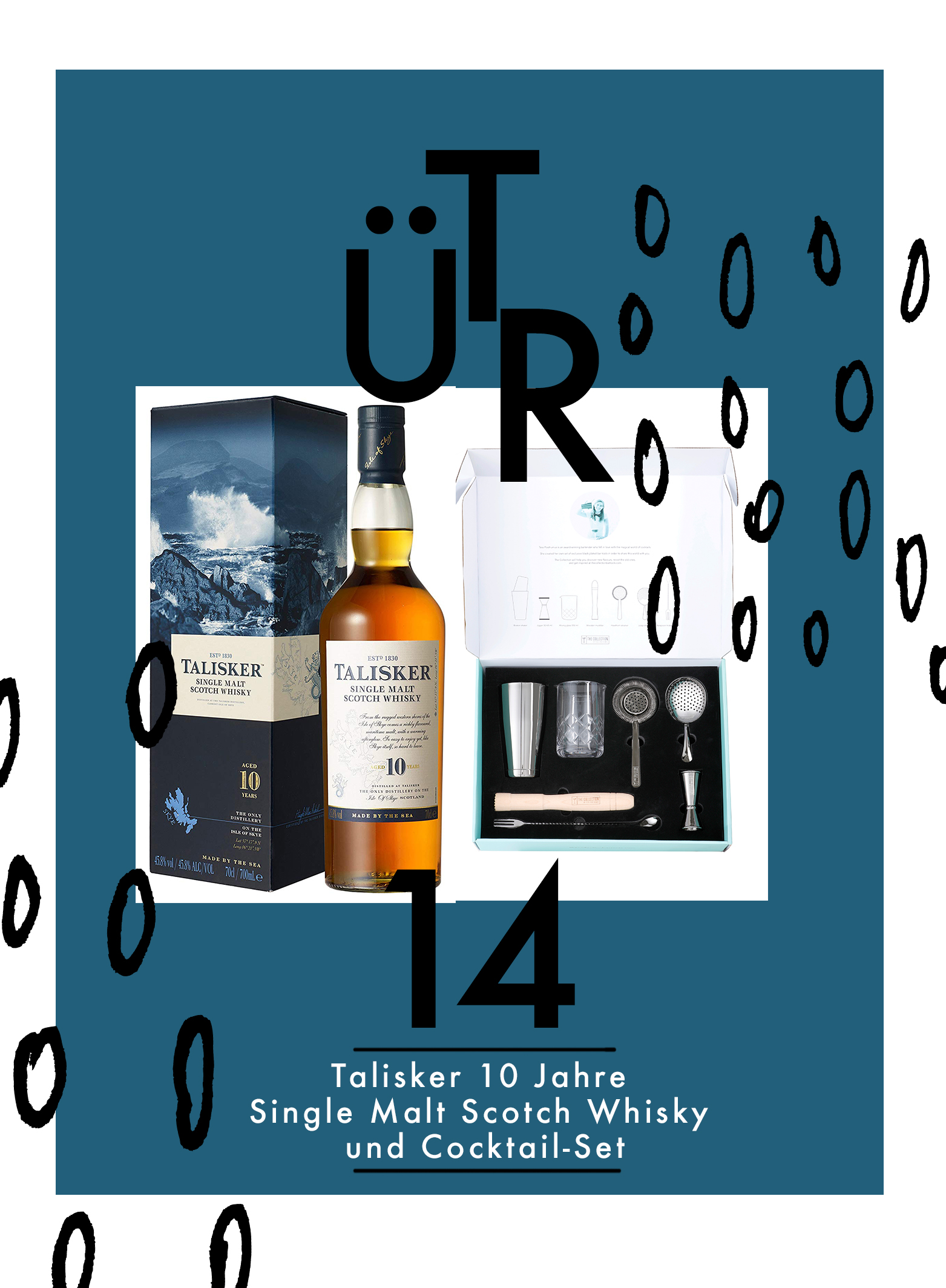 Tür 14: Talisker 10 Jahre Single Malt Scotch Whisky und Cocktail-Set