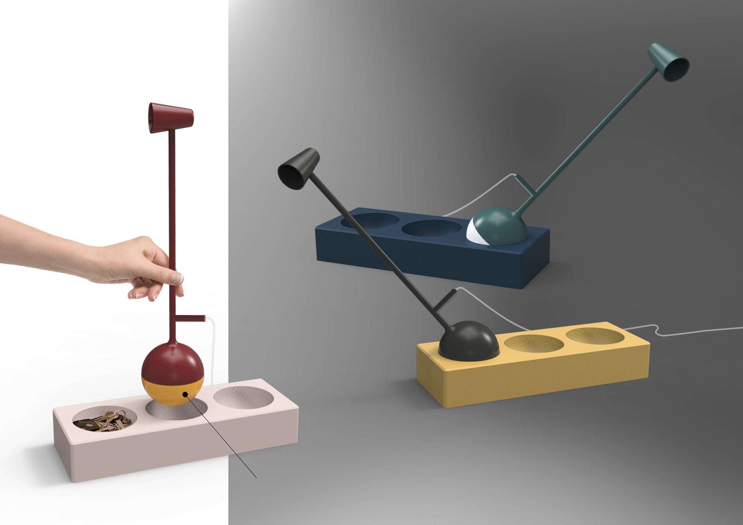Gal Bulka – Licht, passgenau: Axis von Gal Bulka ist eine zweiteilige, farbenfrohe Tischleuchte. Der Einfallswinkel des Lichts ist spielerisch und völlig flexibel einzustellen: Wie ein Gelenkkopf in der Pfanne sitzt die Basis in einer von drei verfügbaren Mulden eines separaten Elements. (Foto: Gal Bulka; Koelnmesse)