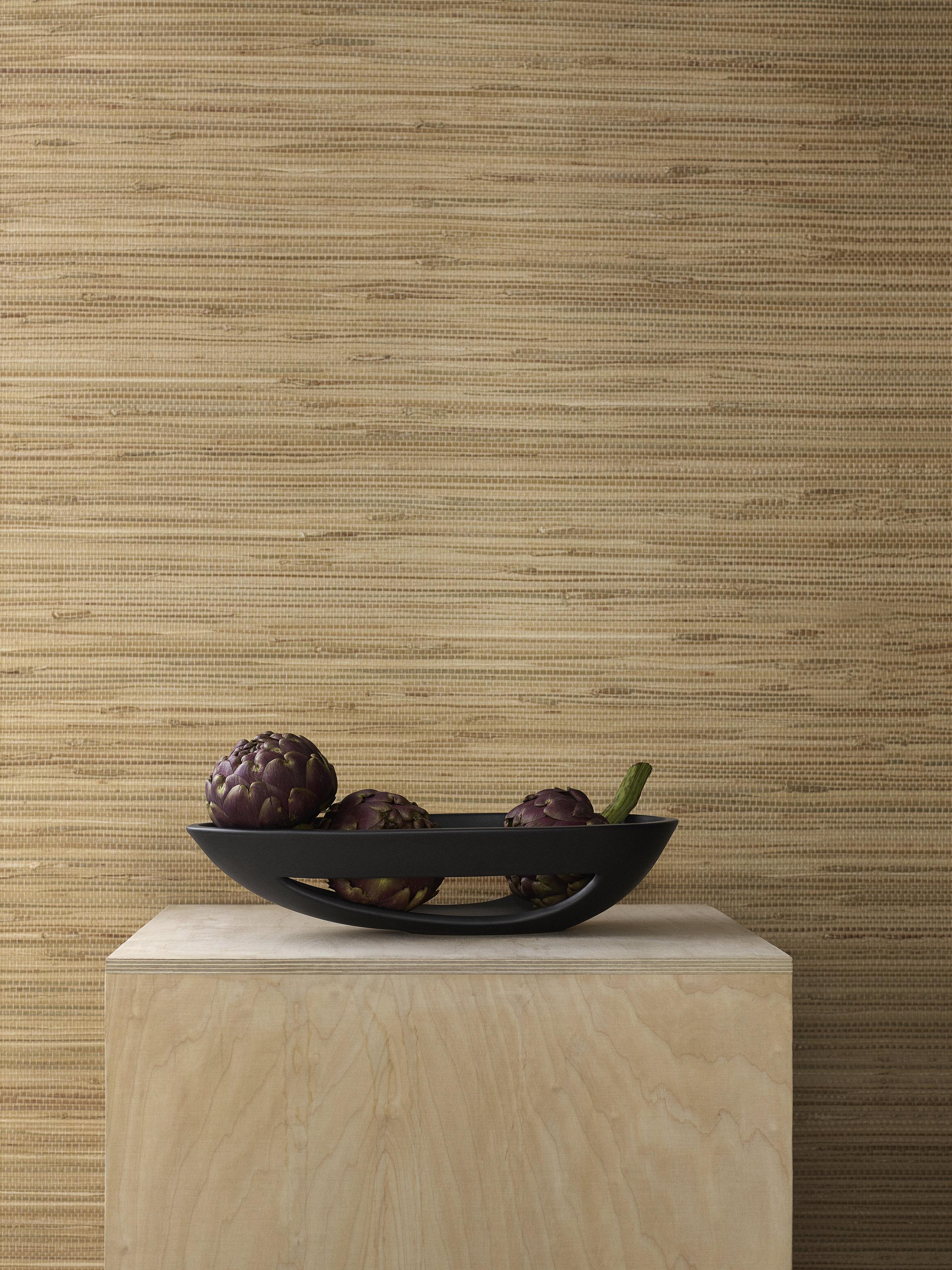 Kokong Platte (L: 40 cm inkl. Ausschnitt ) aus dunkelbraunem bzw. naturweißem Steinzeug, 94.90 EUR