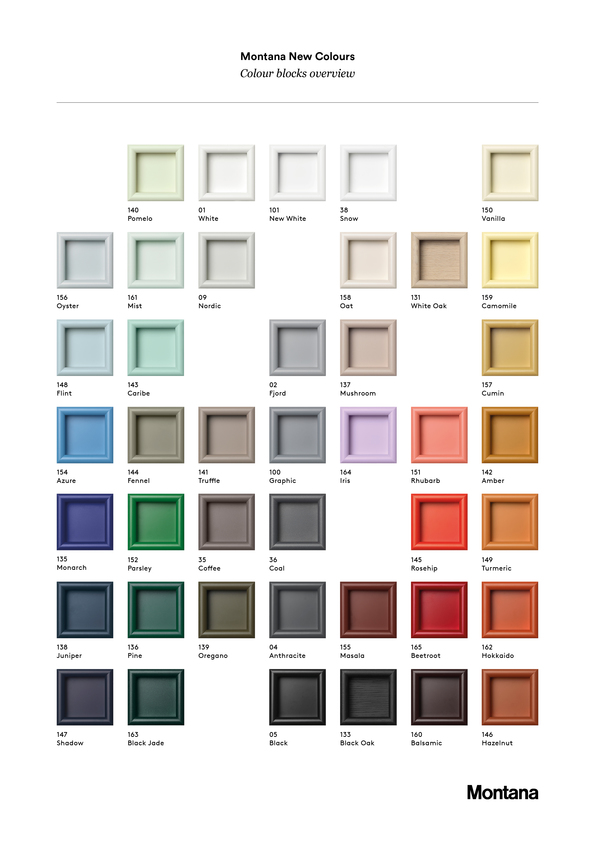 Die 30 neuen Farben von Montana 2019. Farbpalette. Designt bei Margrethe Odgaard.