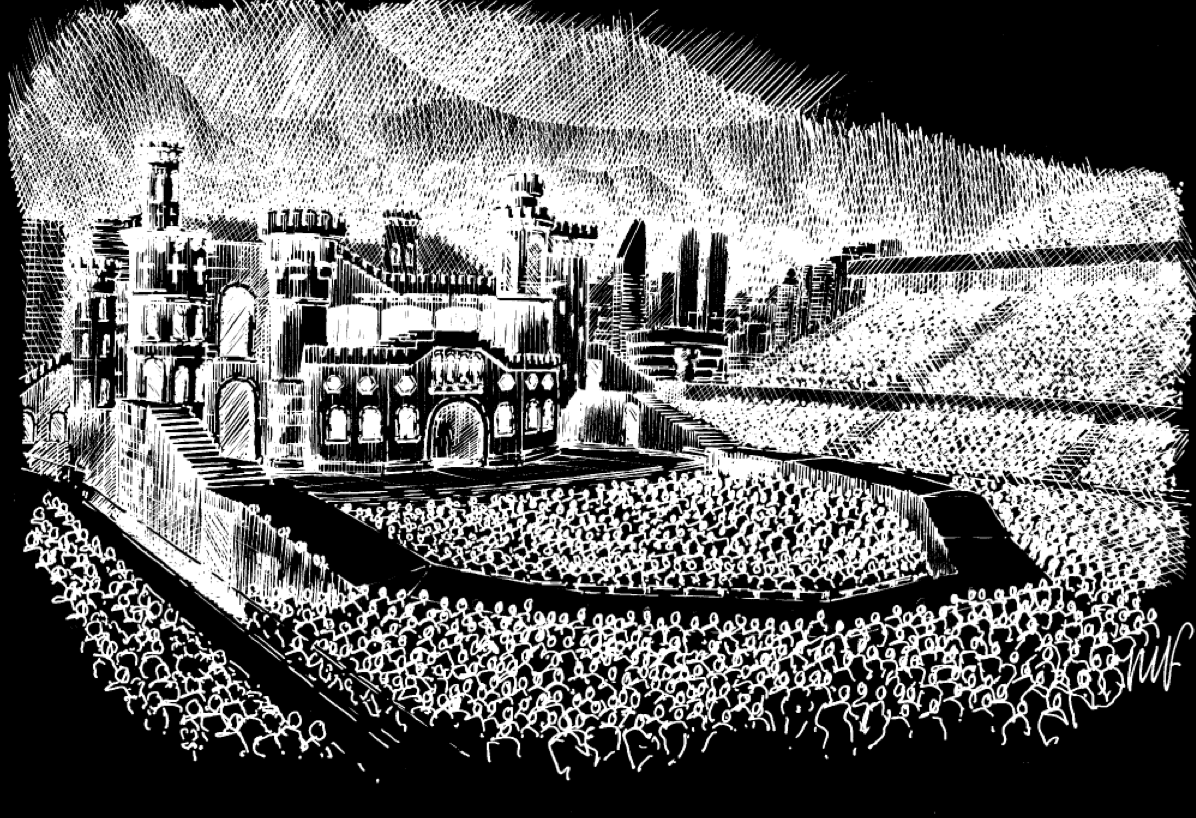 Concept sketch of Lady Gaga's new touring stage. I'm not an insane die hard Lady Gaga fan, but I do respect her work and this is no exception. Imagine the things they could do on this thing! Excited.