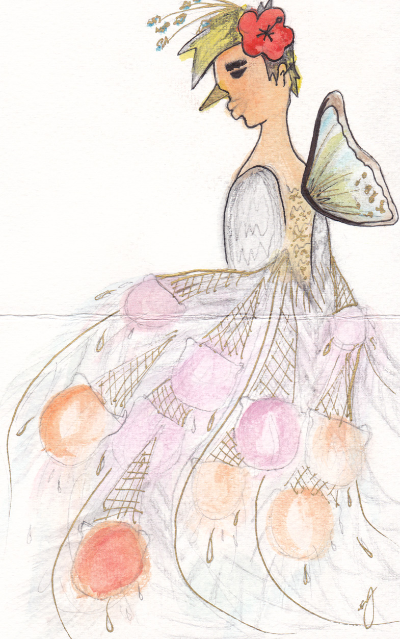 Ice cream peacock one winged butterfly ample lipped blonde Hawaiian princess - my friend Sonya drew a picture of me. This one will definitely stand out in the gallery - it's watercolored, has gold metallic ink (can't really see in the scan), AND it's actually a birthday card (that's why there's a fold line in the middle). What an amazing surprise to receive in the mail! Thank you so much Sonya, I shall cherish this!