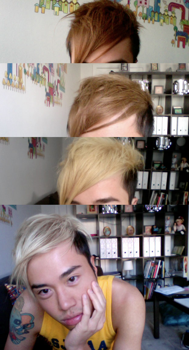 if you recall, i wanted to get DTM/ToT/Beige hair about four months ago, and finally, after much pain and agony, i have finally acquired a neutral light color! no more brassy orange or yellow, just a neutral light beige. to the untrained eye, you might call it blonde. don't.   my tan has also gone away significantly. also my back and shoulder hurts. my body is falling apart!