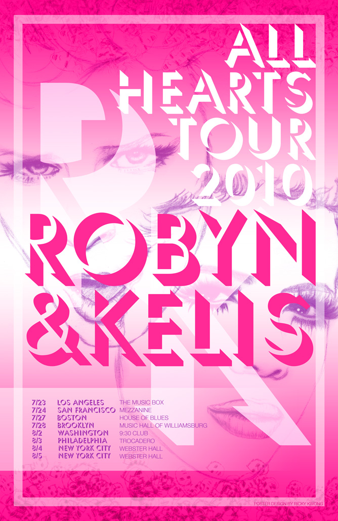 I designed an 11x17 tour poster for the Robyn|Kelis show i'm going to in a couple weeks. they're holding a contest for it; the prize is only $200 but it will be cool if it got selected nonetheless! And their initials are RK, so i think i should automatically win. i sketched their faces in pencil and scanned it in, and did everything else in photoshop.