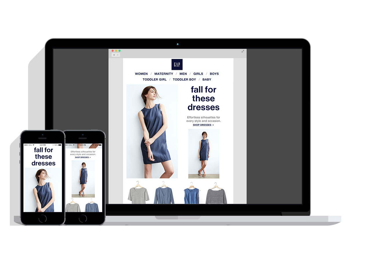 Responsive Email Design: Dresses - This design shifts from a two-column layout to one-column depending on the device.