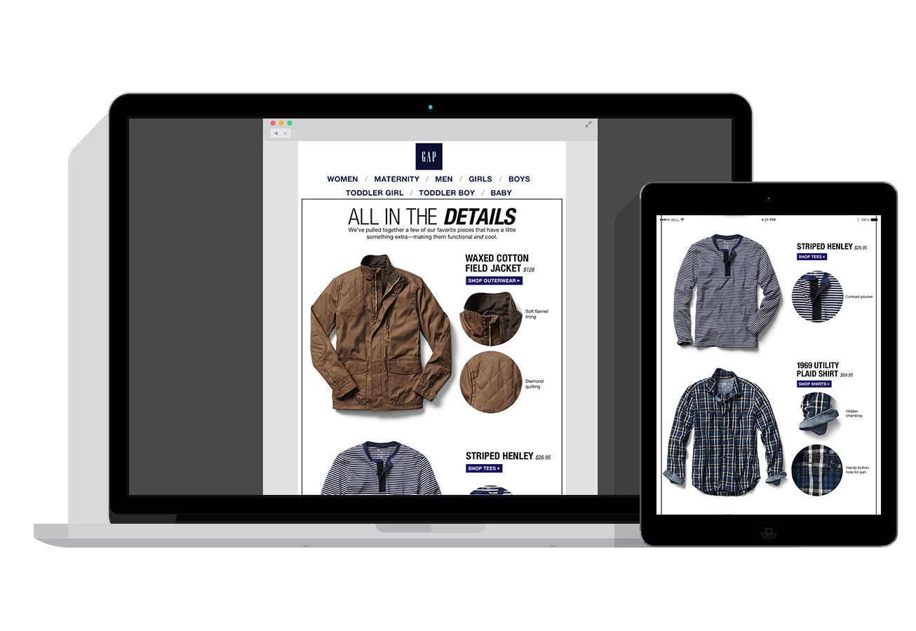 All in the Details - Special details are highlighted to show customers quality and a reason to buy.