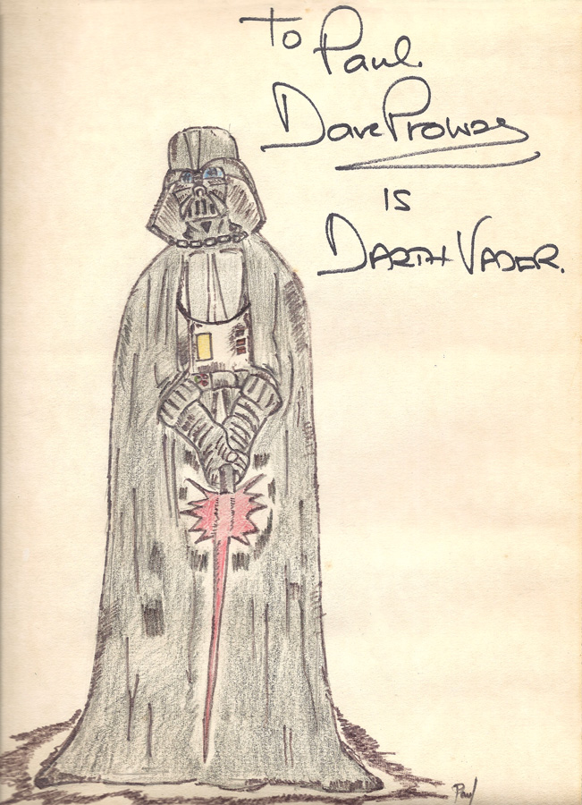 Darth Vader, Paul Tong, circa age 12, autographedby David Prowse.