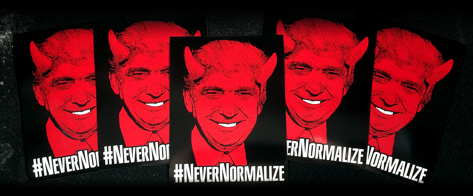 "Click  HERE  to buy a #NeverNormalize sticker! Printed on weatherproof, scratch-proof vinyl, these 4.25"" x 5.5"" stickers are here to stay ... hopefully Trump is not!"