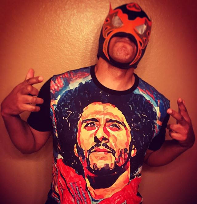 El Demonio de la Funk, VP of Handling Dumbass Requests for @DJBoolix rockin' the @kaepernick7  Liberatee! Get yours at ThaLiberator.com #Liberatees #DJ #DjLife #TakeAKnee #kaepernick #LuchaLibre #funk