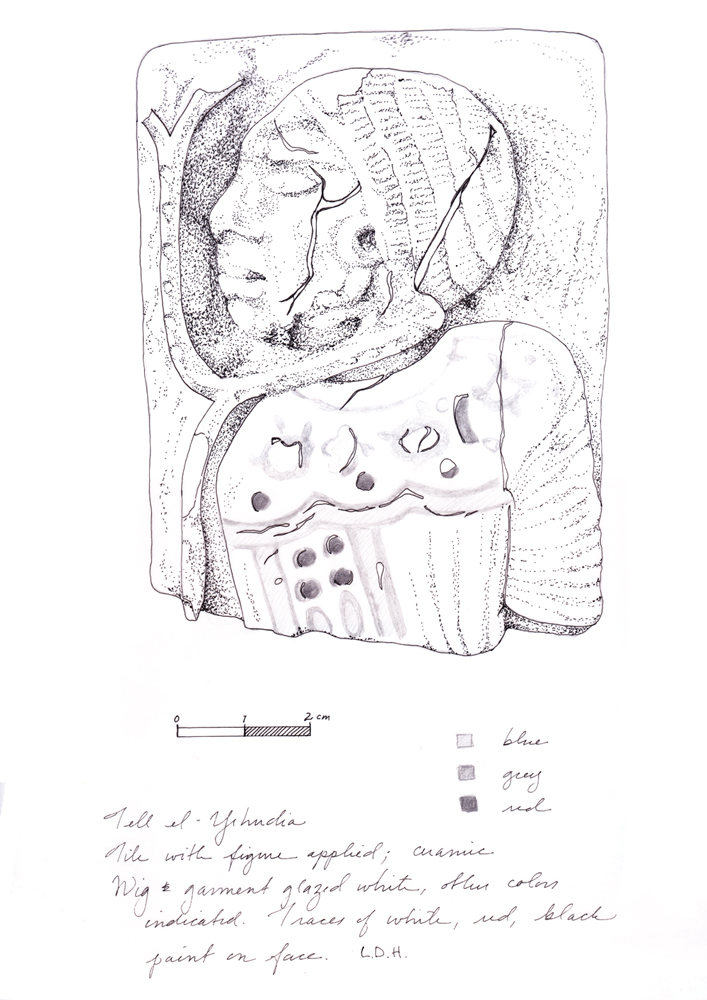 Article 0307: Archaeological drawing of tile depicting traditional enemy of Egypt (by Laurel Darcy Hackley)