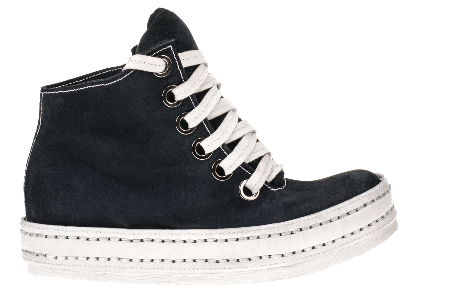 6Hole Navy Blue Suede White
