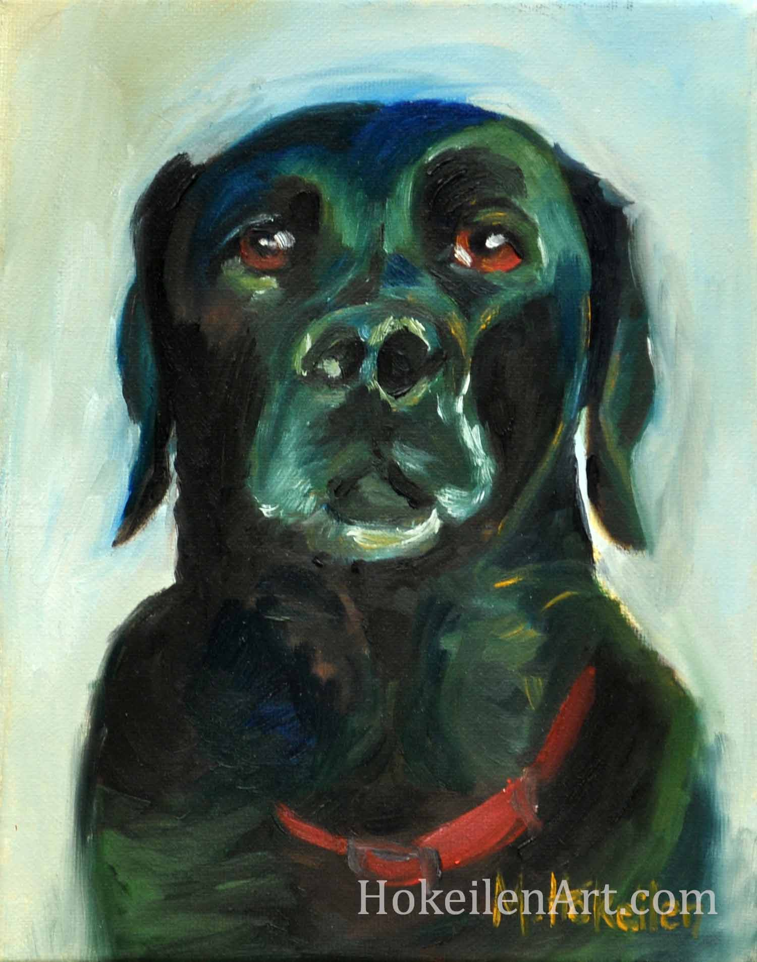 "A Portrait of My Dog by Monica Hokeilen, oil on canvas, 8""x10"""