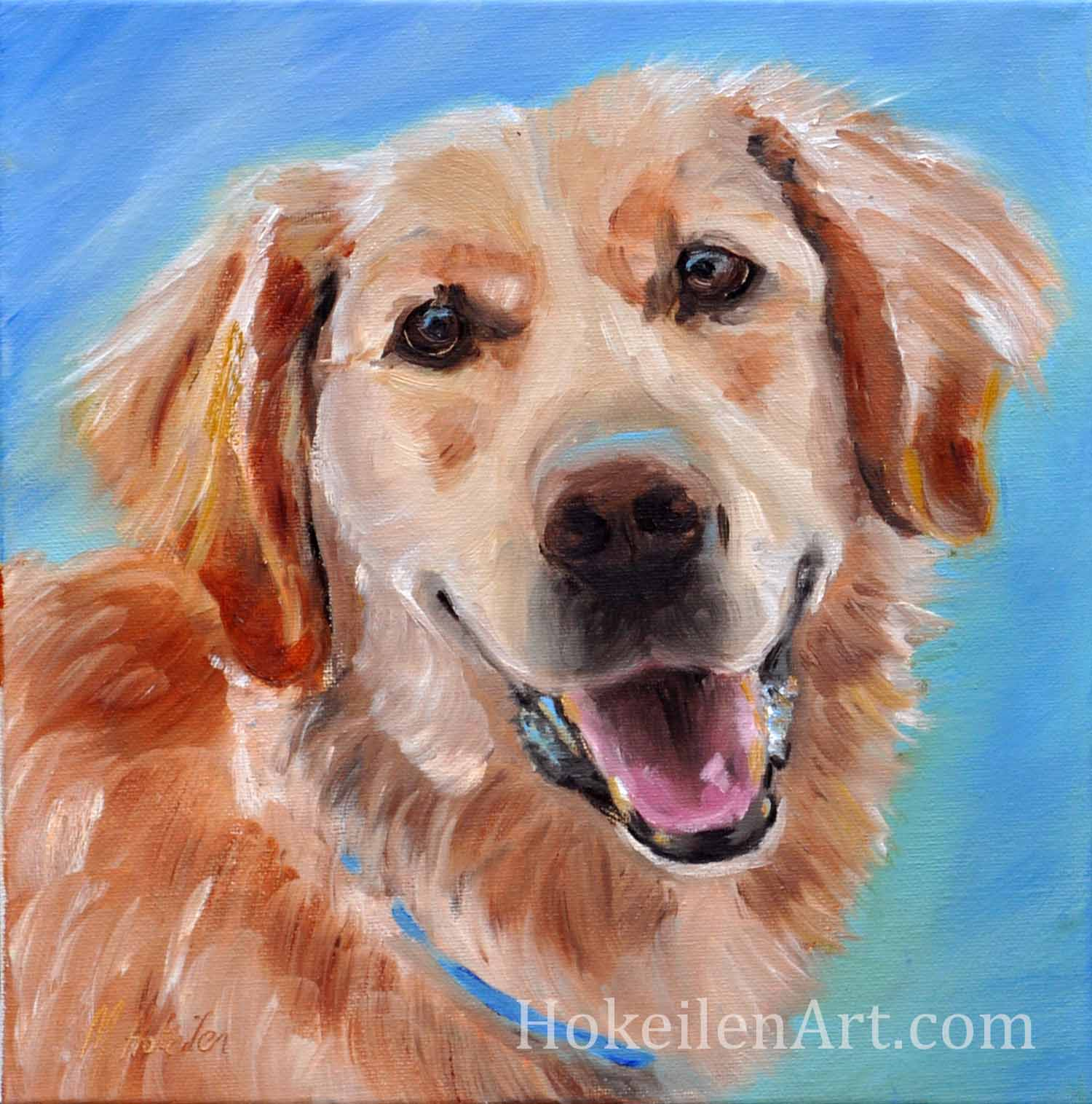 "Happy Dog by Monica Hokeilen, oil on canvas, 12""x12"""
