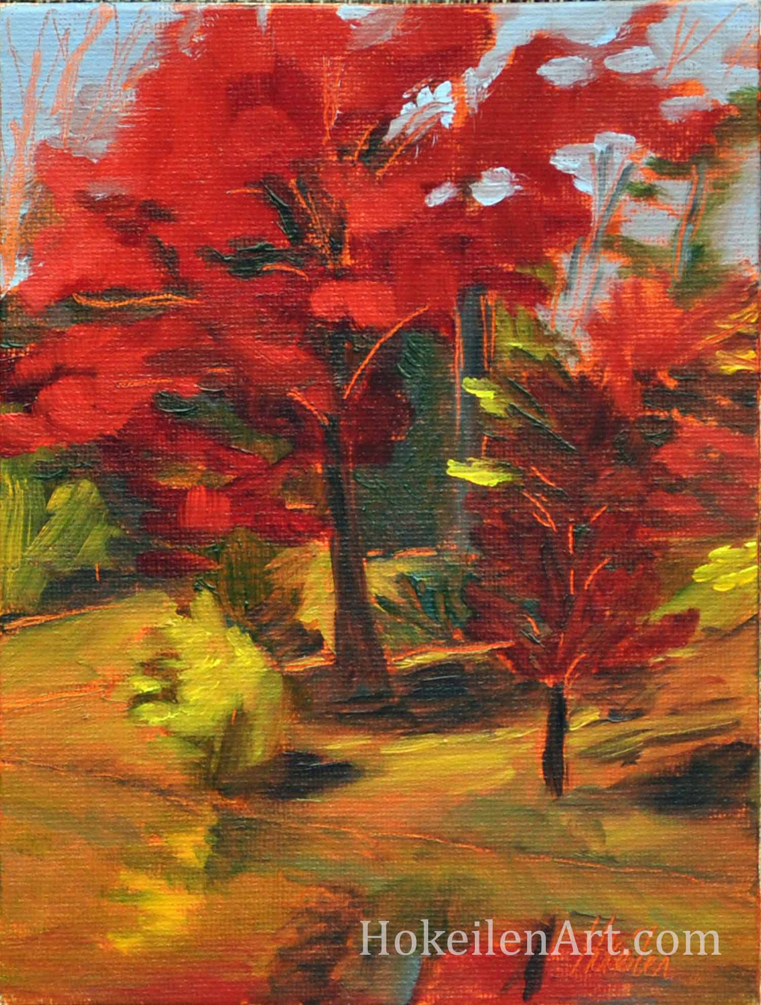 "Red Trees in Autumn, oil on canvas board, 6""x8"""