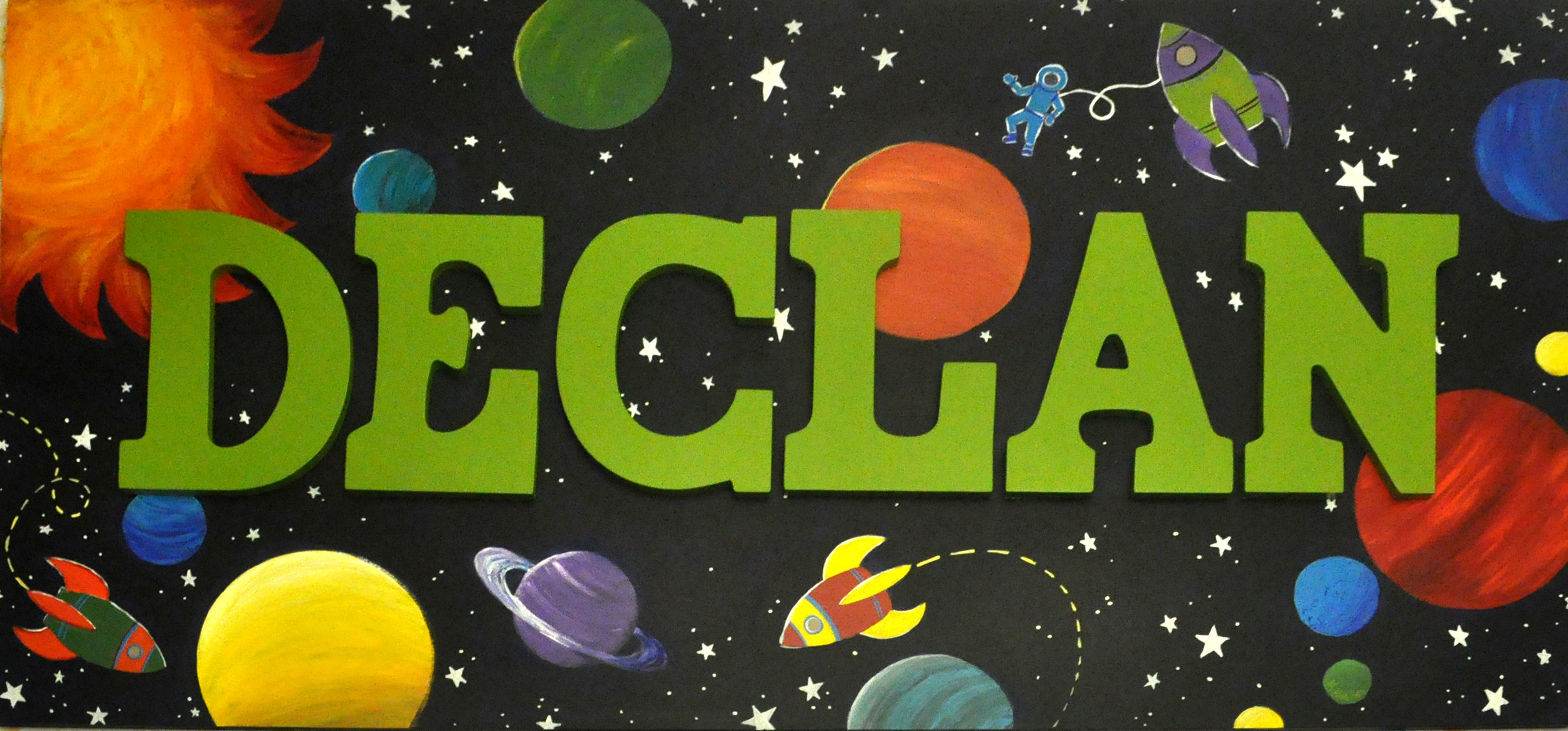 Space Art for Declan, acrylic on board, 2'x4'