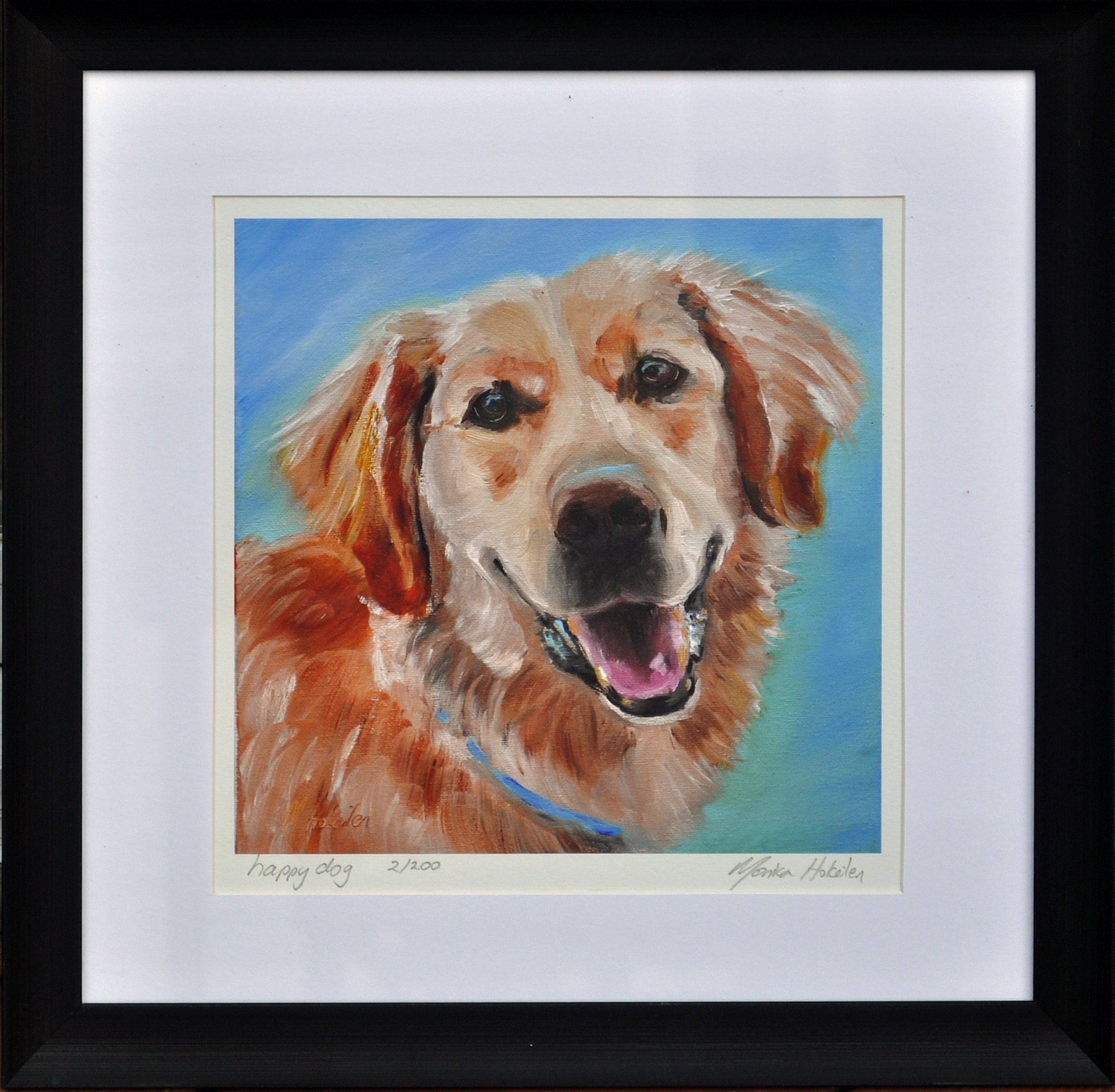 Happy Dog, matted and framed fine art print