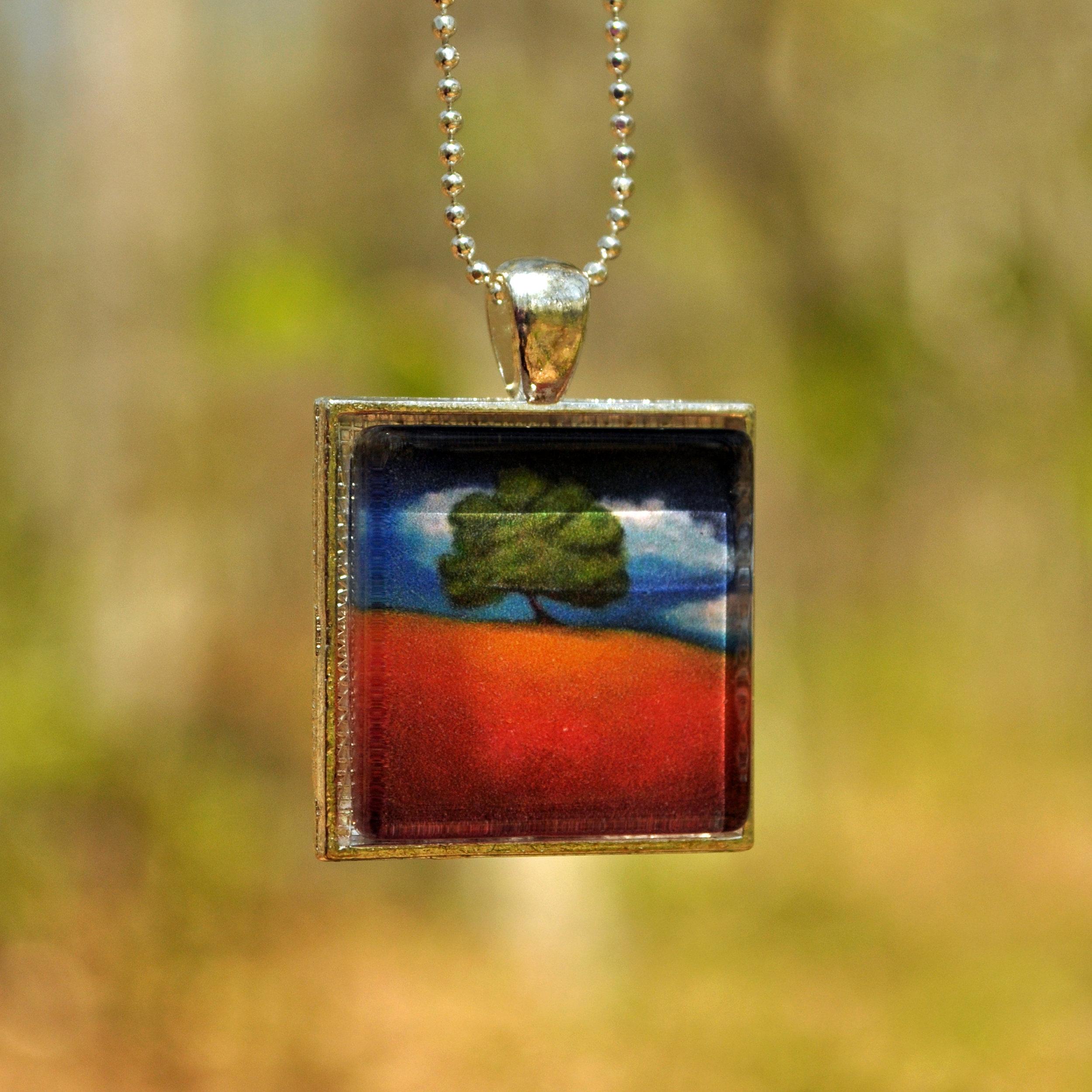 Tree on a Hill by Monica Hokeilen, pendant