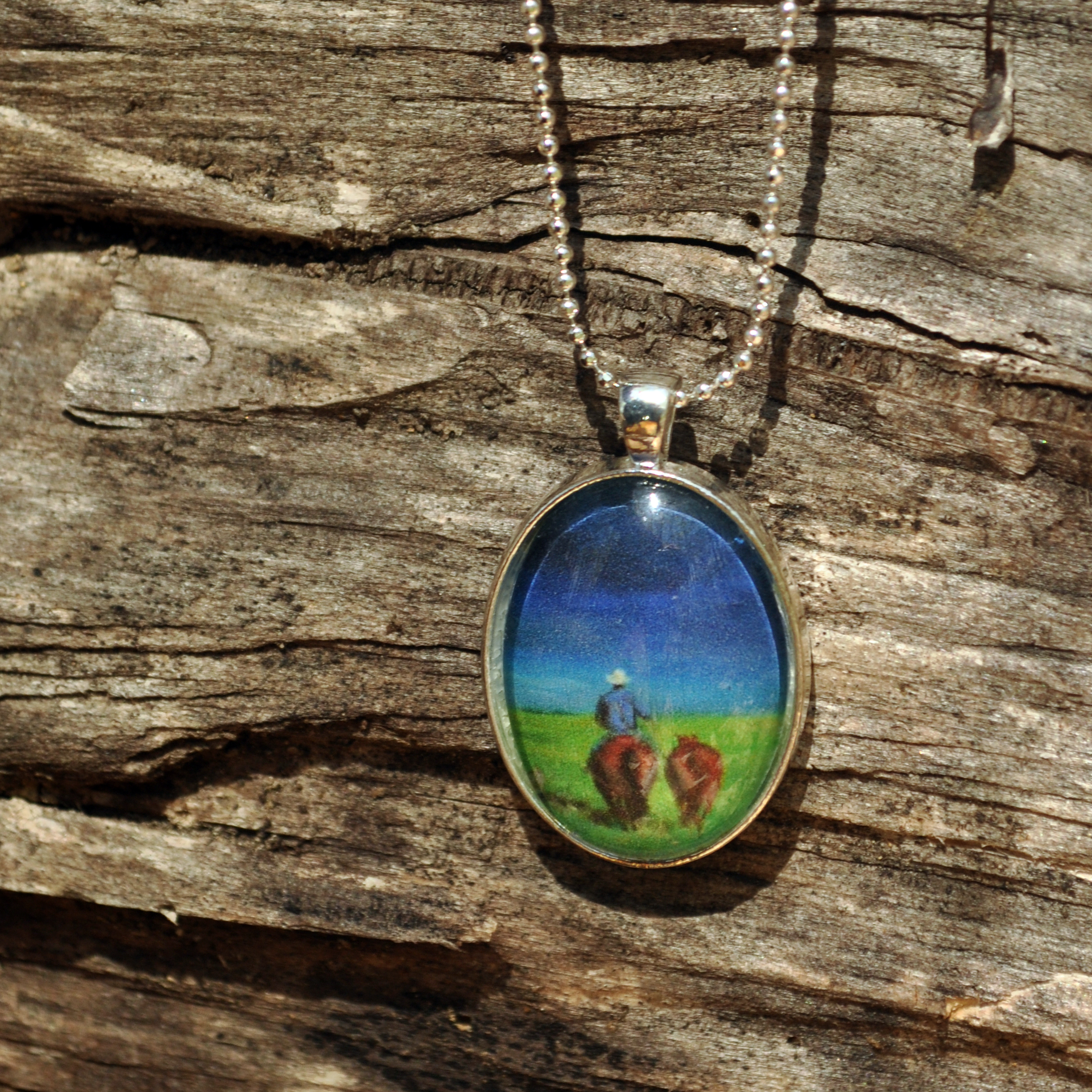 Rider with Two Horses by Monica Hokeilen, pendant