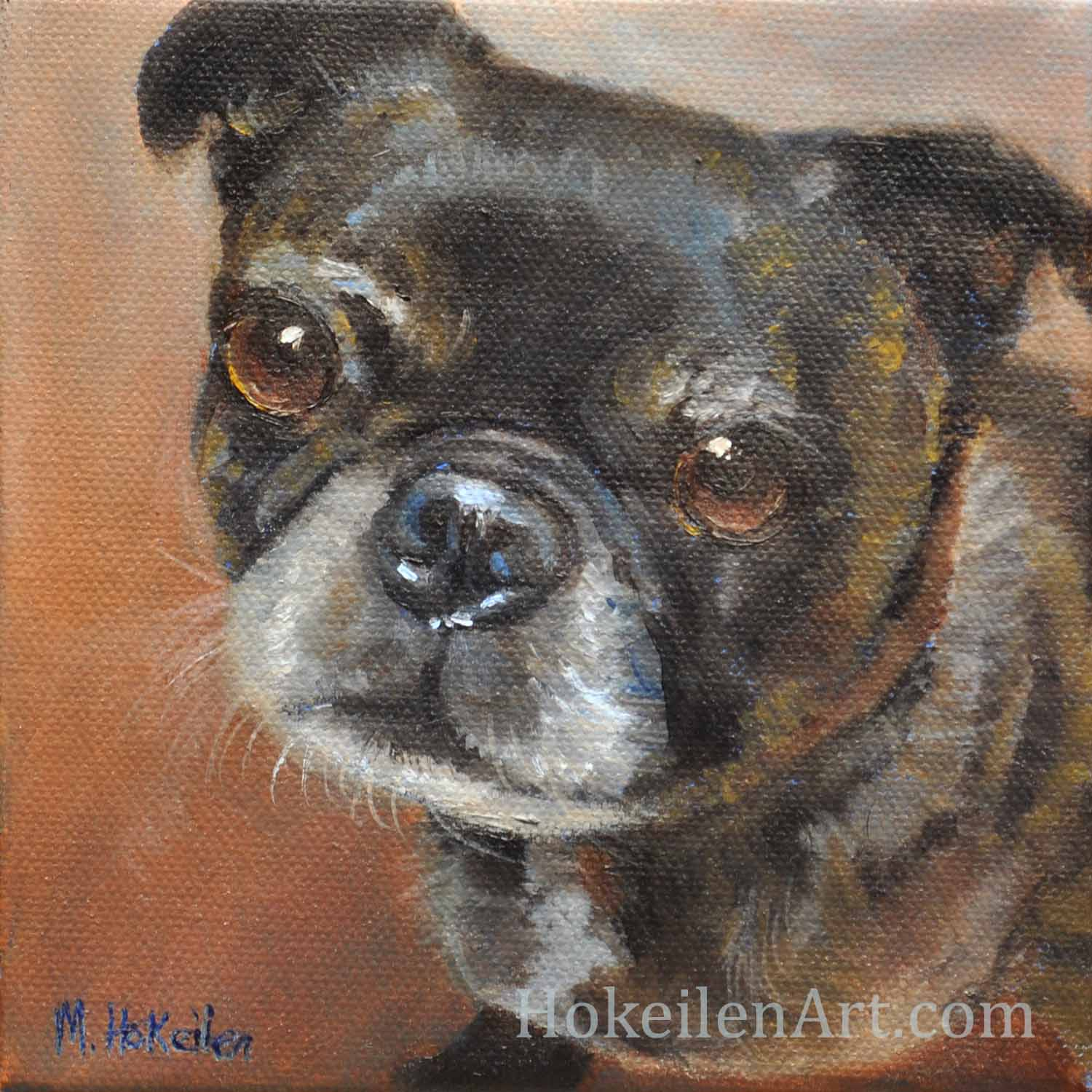 "Hank, oil on canvas, 6""x6"""
