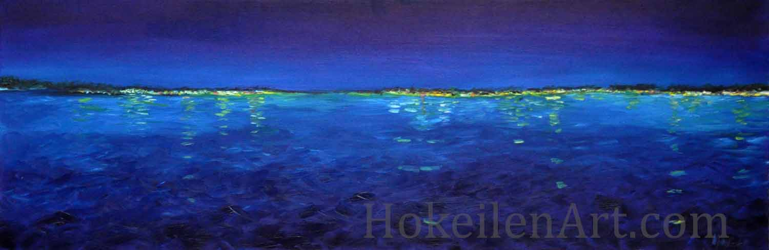 Beacons in the Night by Monica Hokeilen, oil on canvas, 36x12 inches