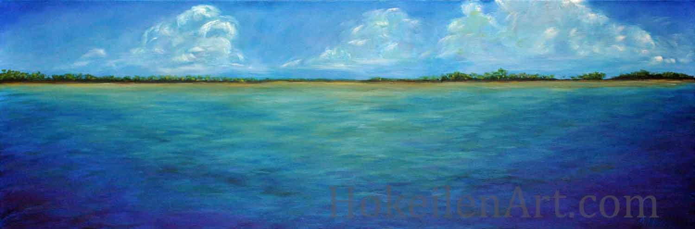 Pirata Playa by Monica Hokeilen, oil on canvas, 36x12 inches