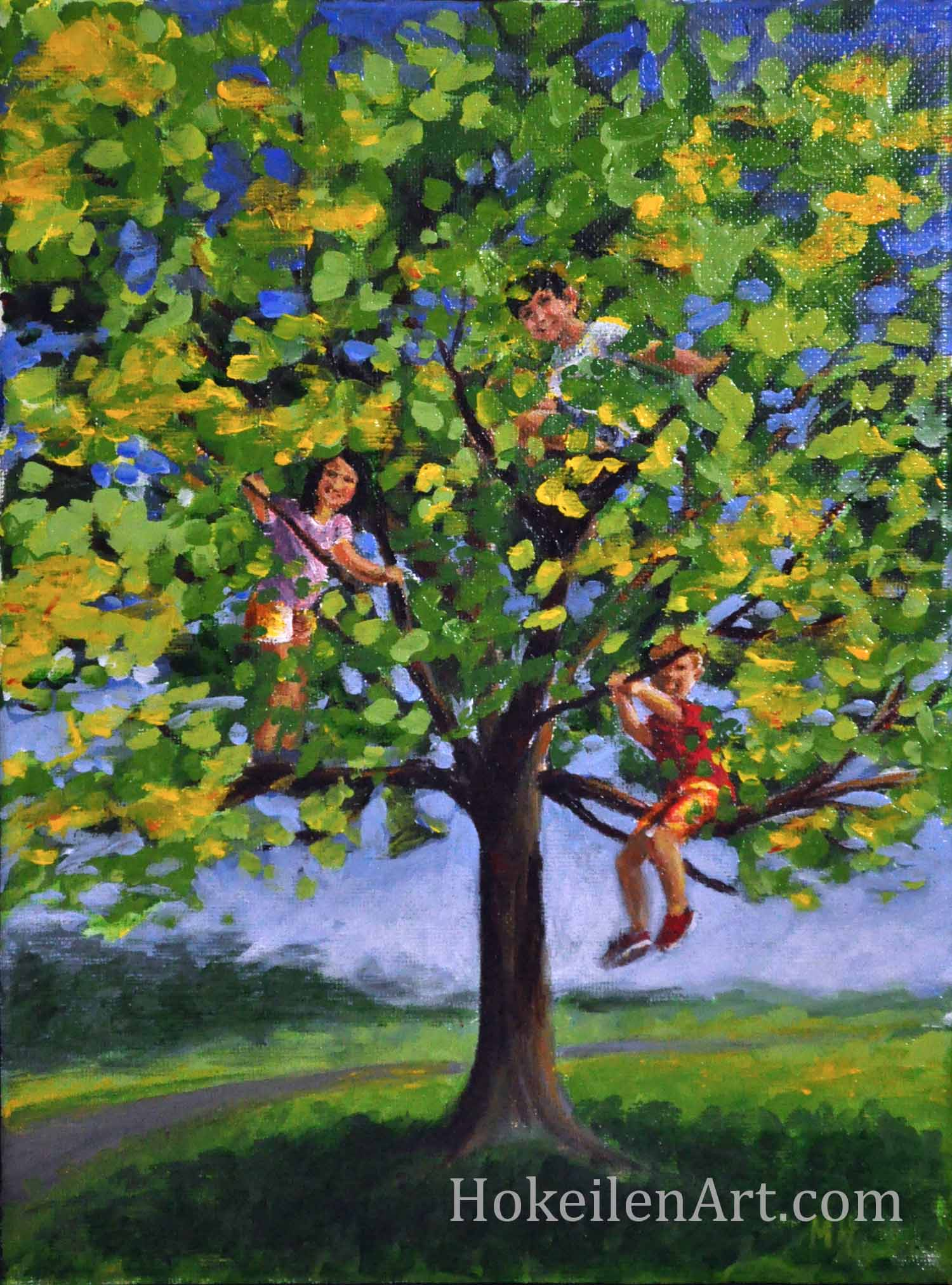 Climbing Trees is an acrylic on canvas painting of our wonderful neighbors, the Crooks, climbing the maple tree out front with my son, Calvin. These kids were outside with Calvin nearly every day, running and climbing (stone walls and trees), and were a big part of our lives - they opened their hearts and doors to us from the moment we moved in. They will bring warmth and friendship wherever they live.
