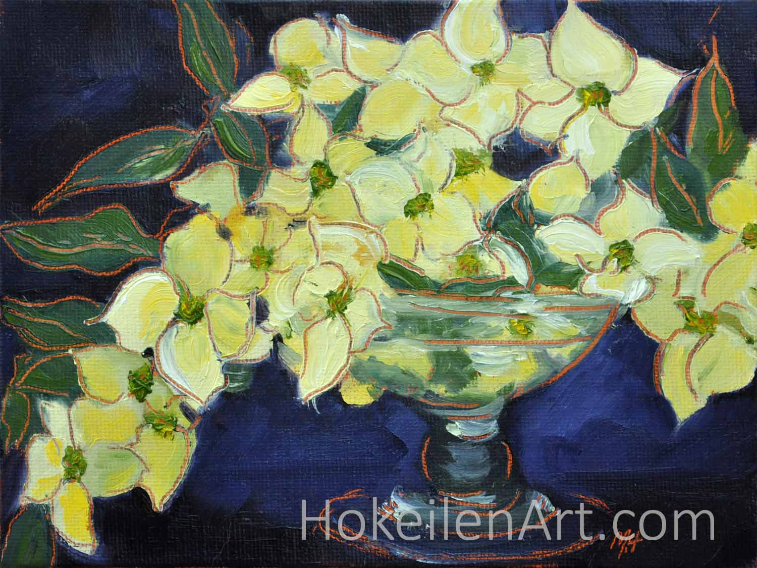 Dogwood Bouquet - oil on canvas board, 6