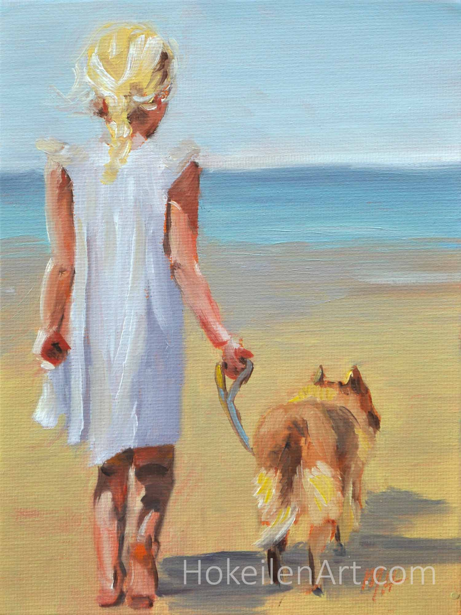 Time for a Walk - oil on canvas board, 8