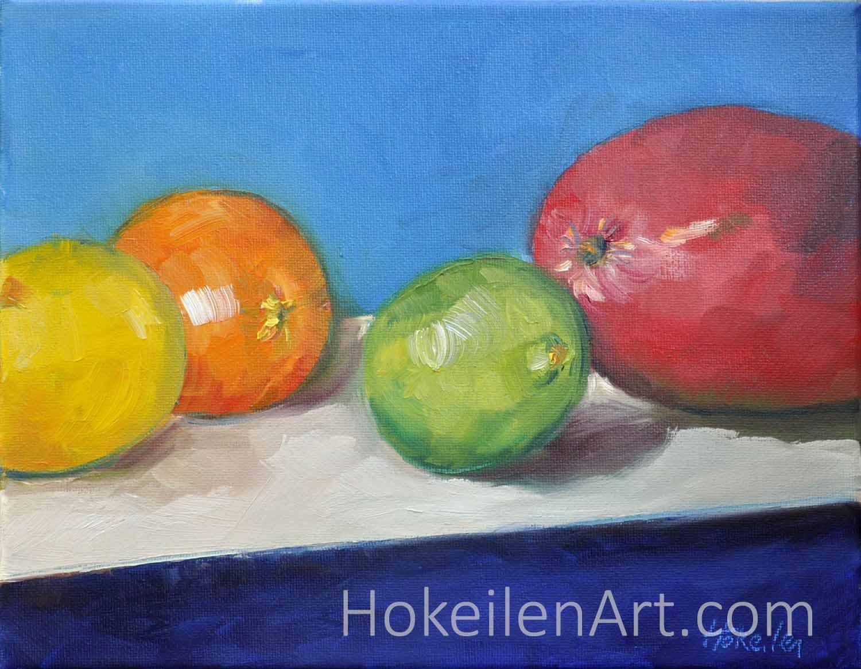 Lemon Orange Lime Mango - oil on canvas, 8