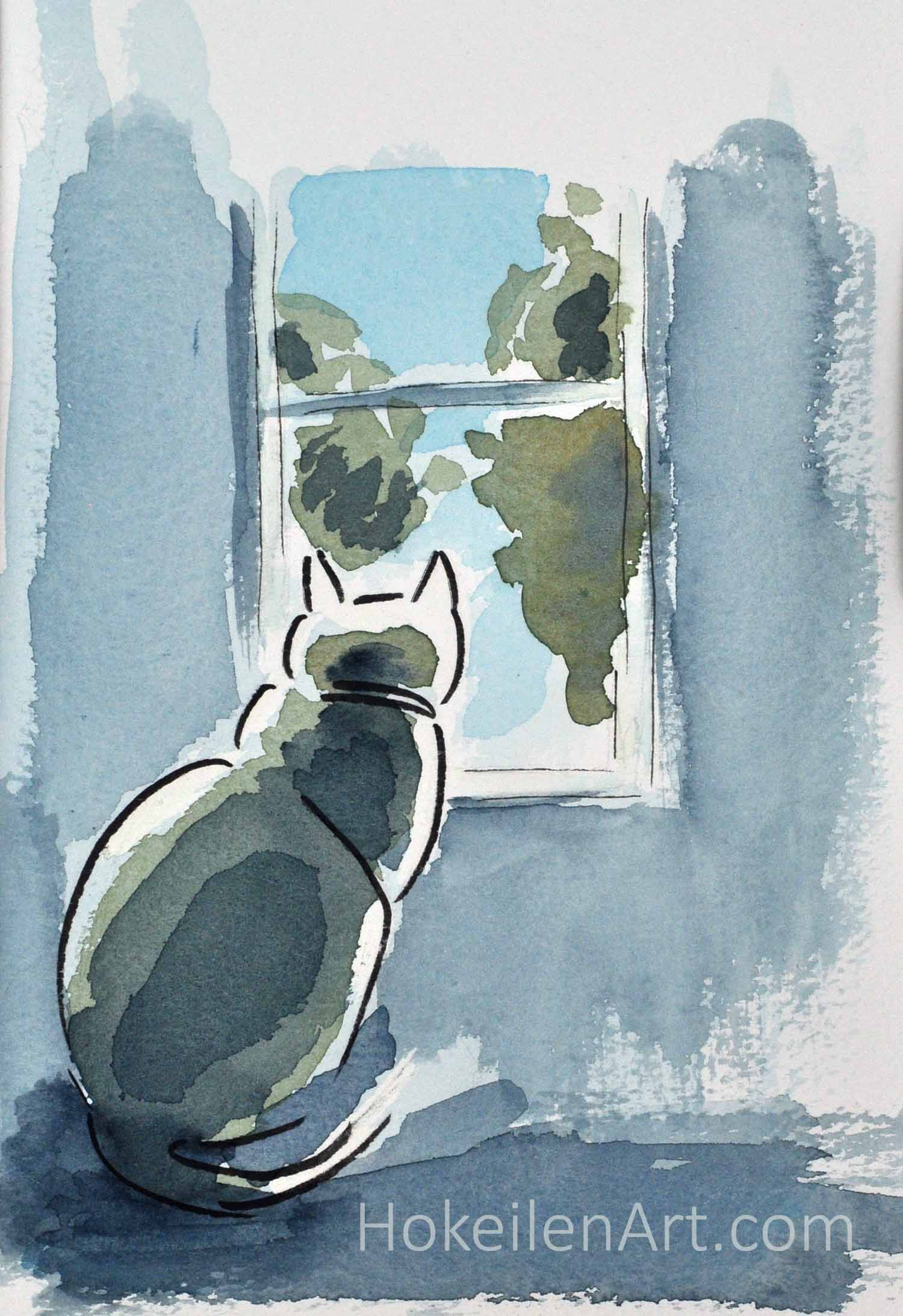 Watching the Neighbors - watercolor on paper, framed to 8