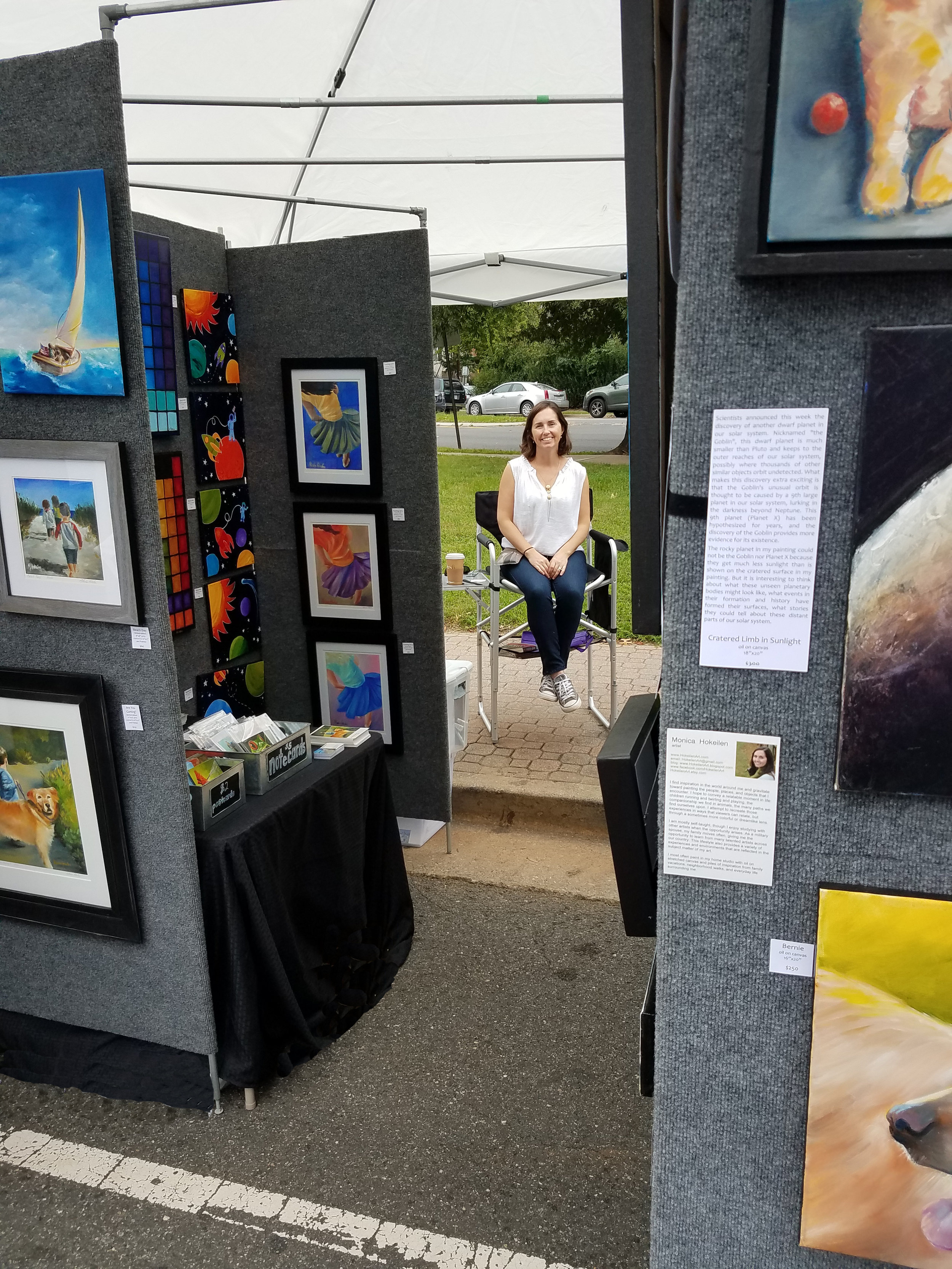 My spot behind the tent with a view between the gallery walls.