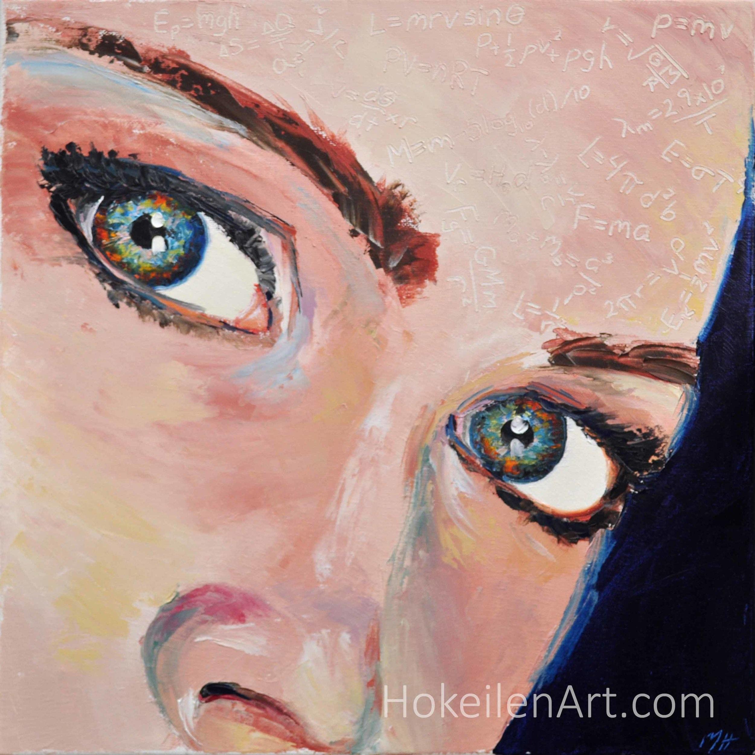 """The Astrophysicist with Supernova Eyes by Monica Hokeilen, oil on canvas 14""""x14"""""""