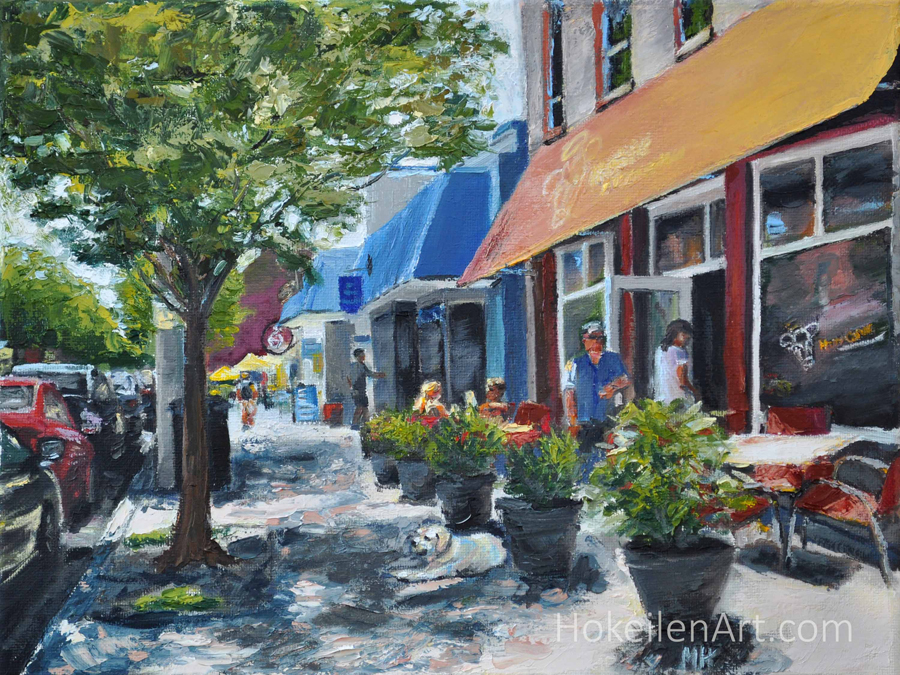 """Lunch Date in Del Ray, oil on canvas, 9""""x12"""""""