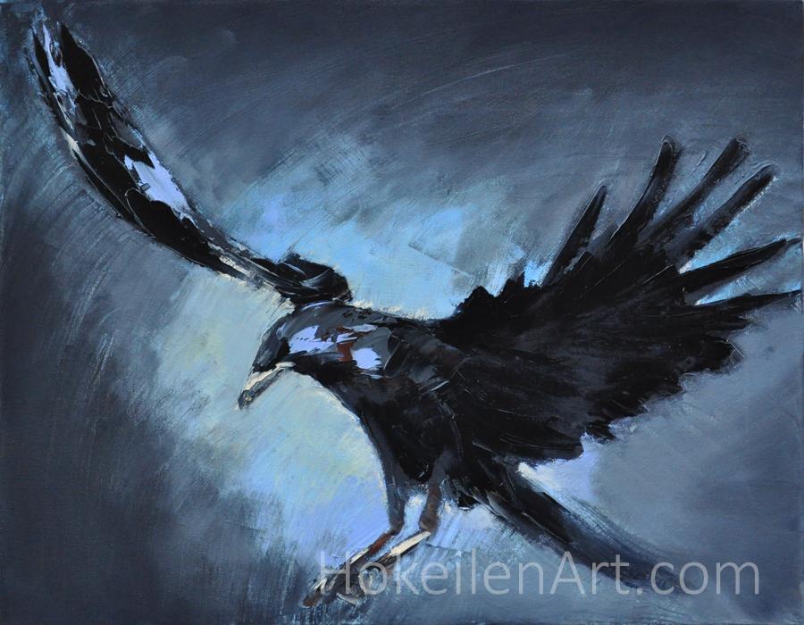 "Nevermore by Monica Hokeilen, oil on canvas 14""x18"""