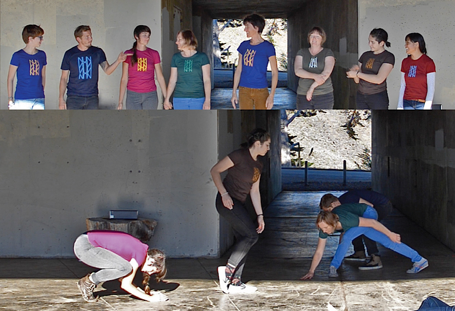 (RE)TIME, 2014. Performance still. Featuring Uma Lomax, Doug Dowers, Renee Rhodes, Gillian Campell, Sasha Petrenko, Helga Hizer, Melissa Lewis, Winnie Wong, and Devavani Chatterjea. Words, sound, choreography by Sasha Petrenko.