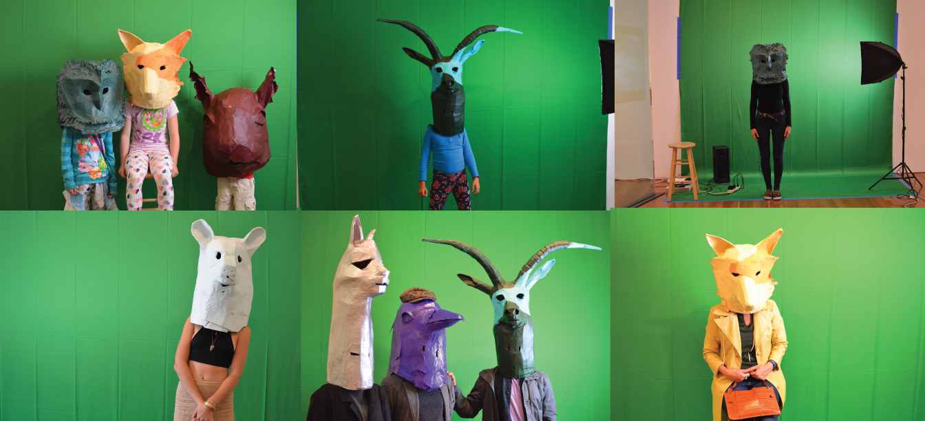 Images of public interacting with animal heads during Artist Residency at the de Young Museum of San Francisco, 2016.