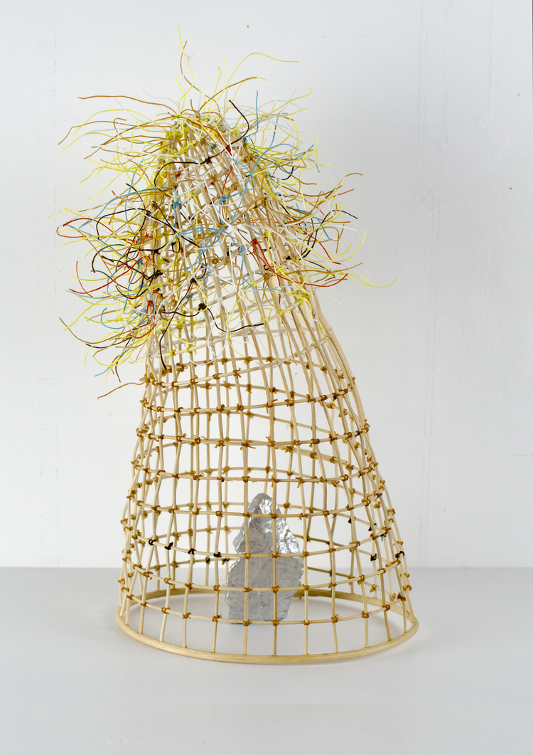 Blind Arbiter, 2014. Reed, rock, paint, waxed linen. 12 x 8 x 7 inches. $750.00