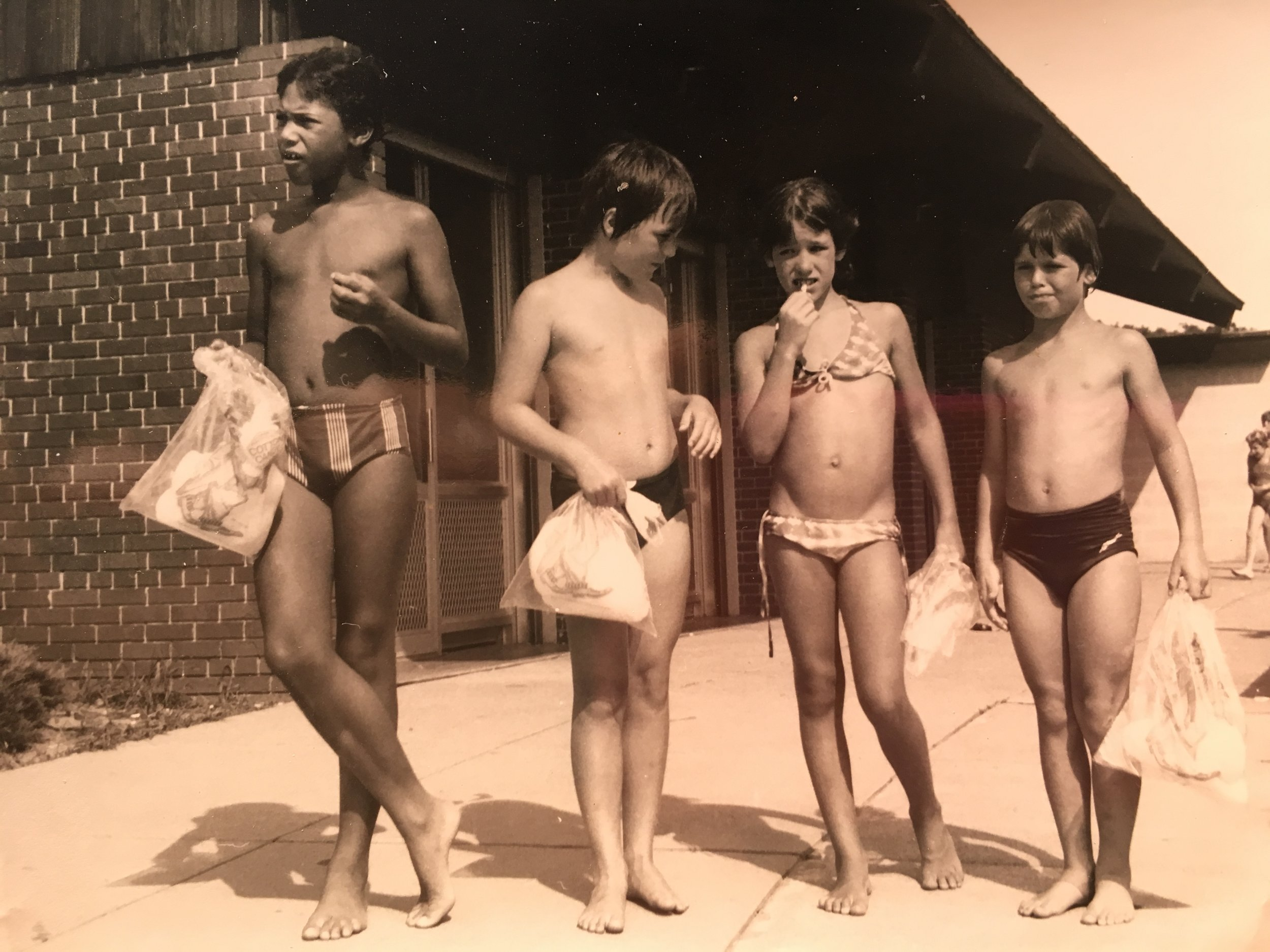 My bro, cousin Gary, me and Ilya at the Lake, Michigan, 1979.