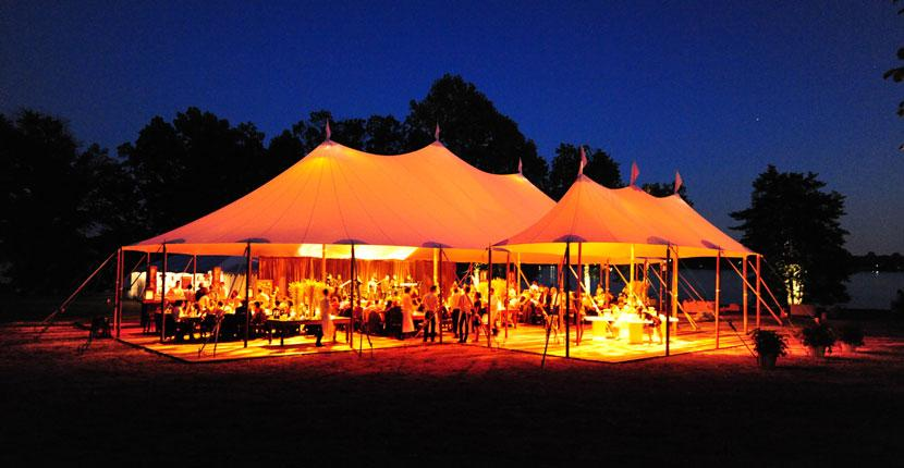 Sailcloth Tent Glowing in the Evening