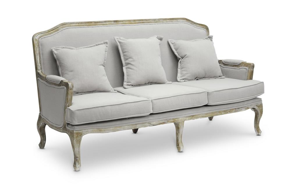 French Antique Linen Event Sofa for Rent