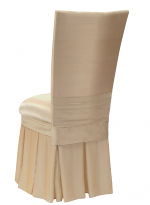 Champagne dupioni cover with bengaline cushion champagne chiffon skirt back