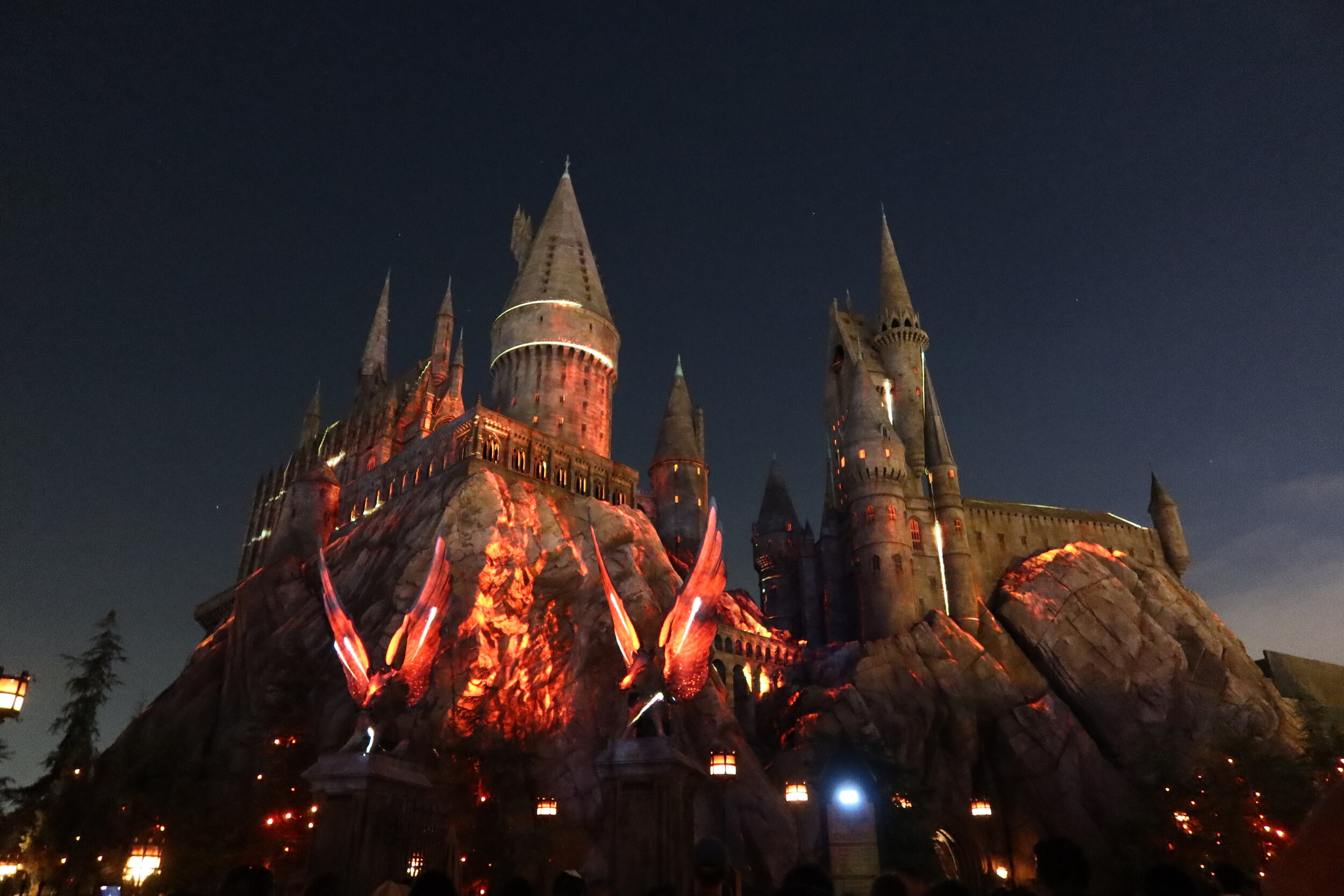 Hogwarts - The night show was fantastic. I wouldn't write home about it but it was good.