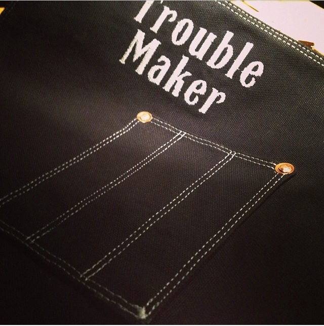 Trouble Maker custom apron with contrasting thread :: Texas Heritage Woodworks