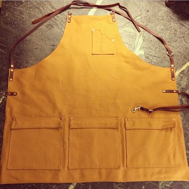 Custom apron with three lower pockets with flaps :: Texas Heritage Woodworks