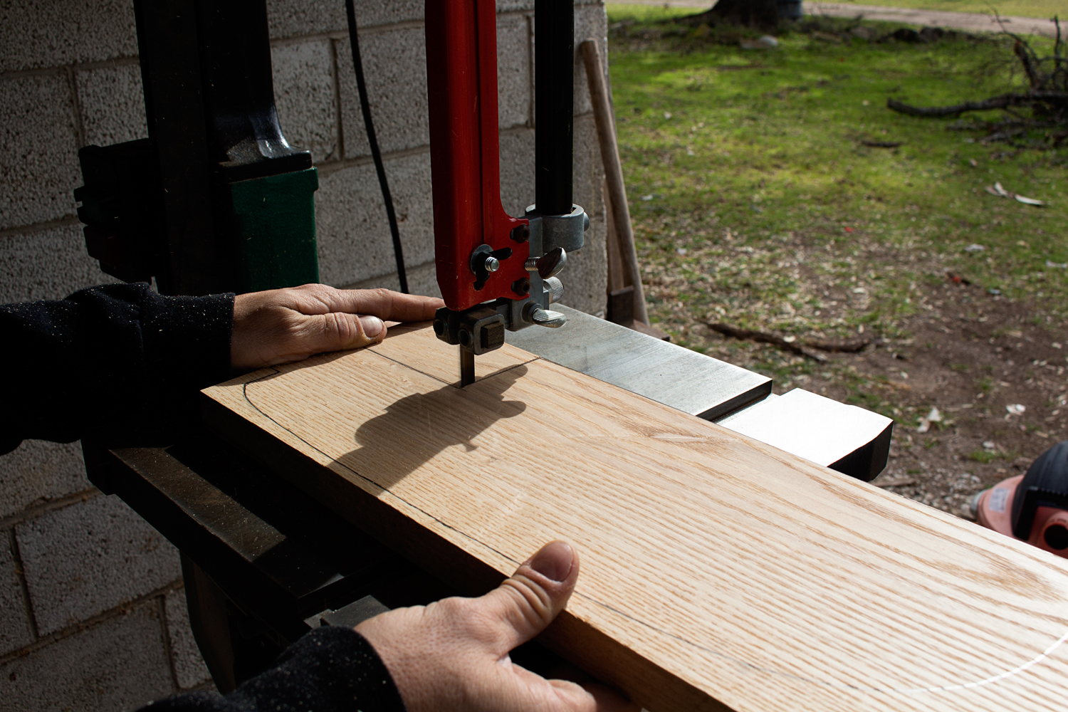 Cutting the B-Pillars to size on the bandsaw