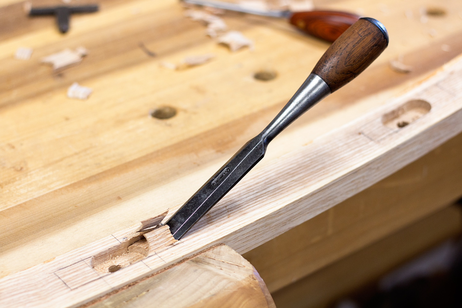 """Chopping out the waste with a 3/4"""" Stanley Everlasting chisel. I'll remove 90% of the bulk with the first few strikes of the mallet. The rest will be pared gently away by hand."""