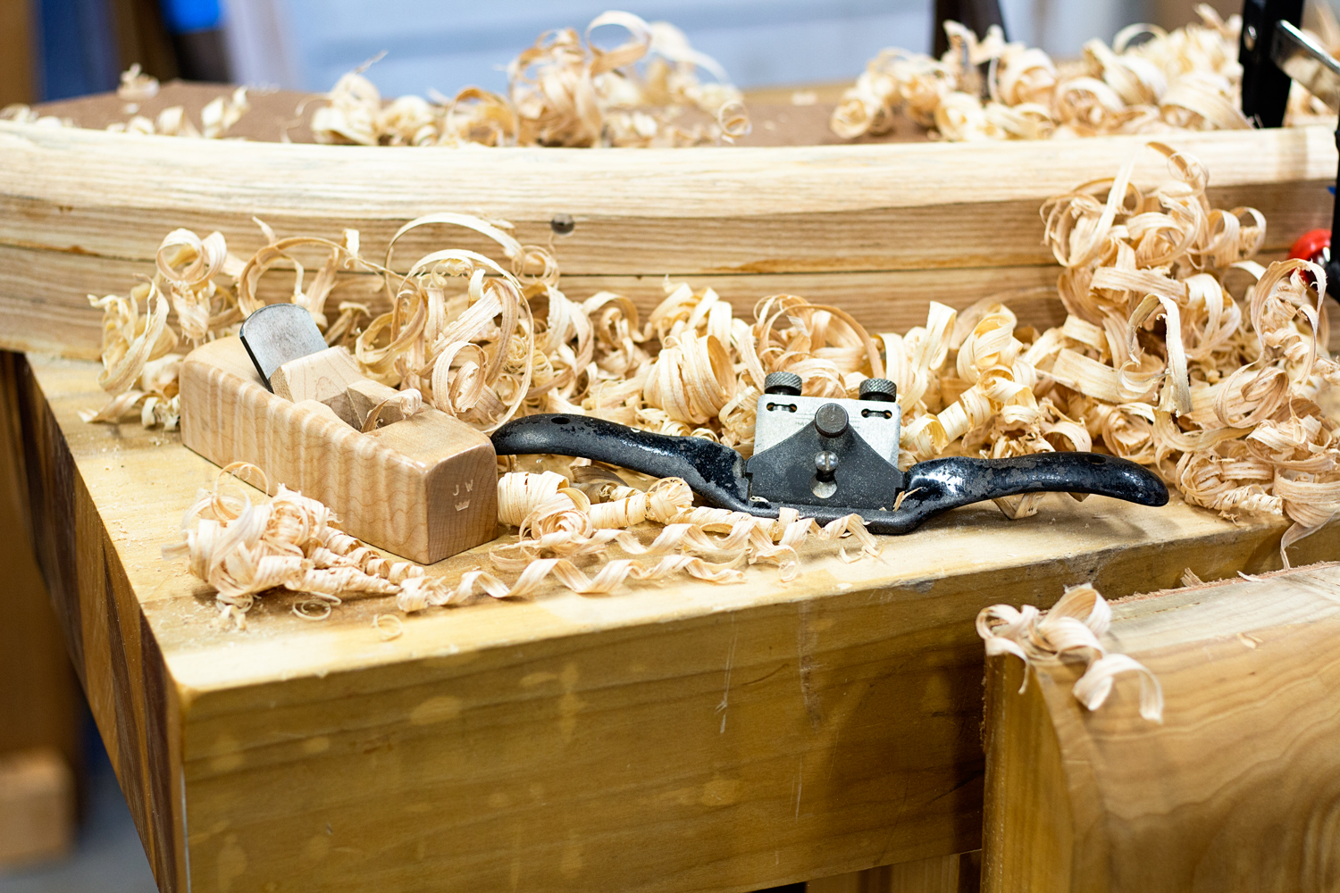 The outer runners have heavily chamfered edges that mimic the curves of the XK120 body. I use my Crown Plane block plane set to a very heavy cut to remove most of the waste, followed by a Stanley 151 spokeshave set to a fine cut. Takes only a few minutes to remove a lot of material