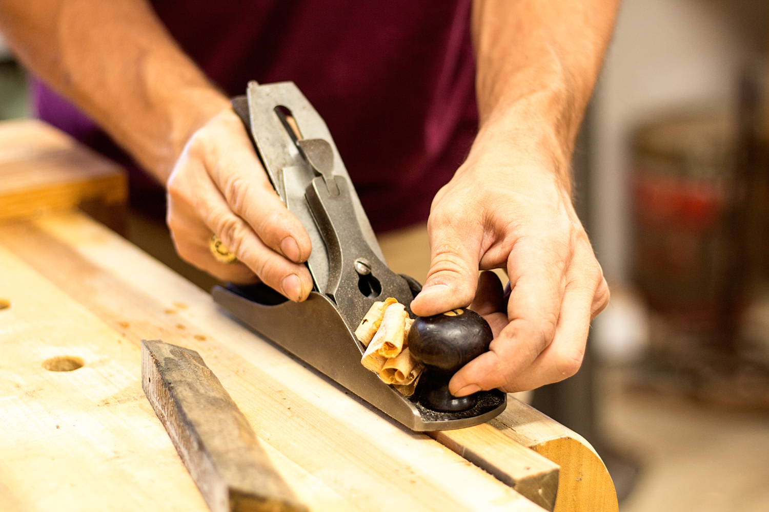Before glueing up the pieces on the Jaguar build, I make a few passes over each surface with my Stanley No.3 smoother. It removes any old adhesive and debris while truing up each surface.